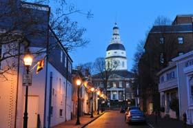 Street of Annapolis at dawn, Maryland, USA